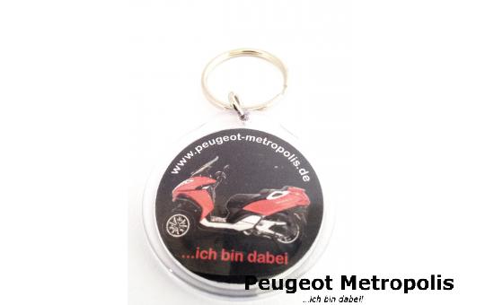 Peugeot Metropolis Schlüsselanhänger Acryl rund